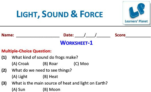 Light Sound And Force Worksheets Video Lectures Ncert Study