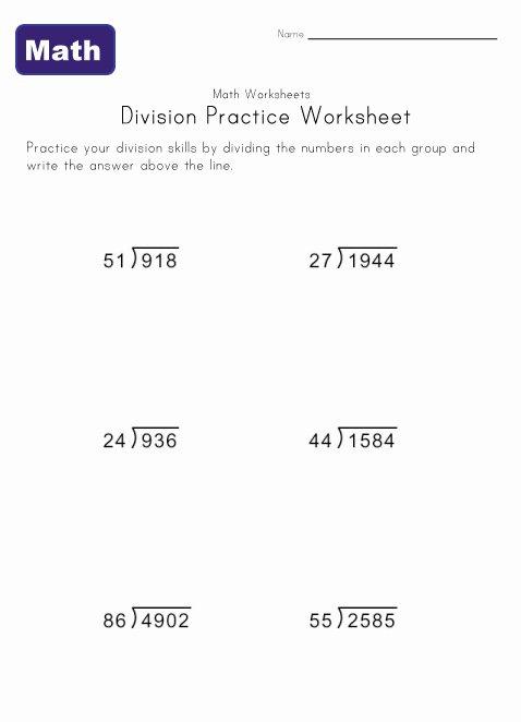 Long Divion Worksheets