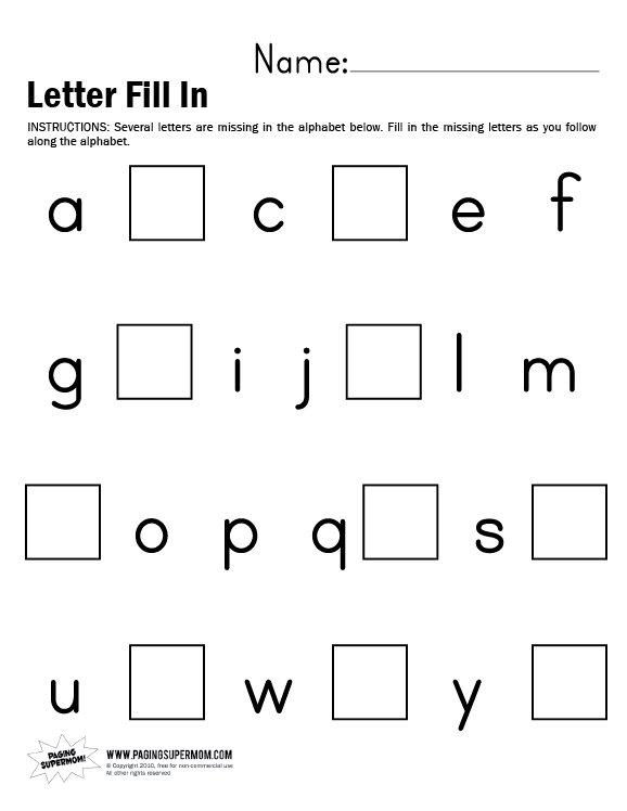 Lowercase Alphabet Fill