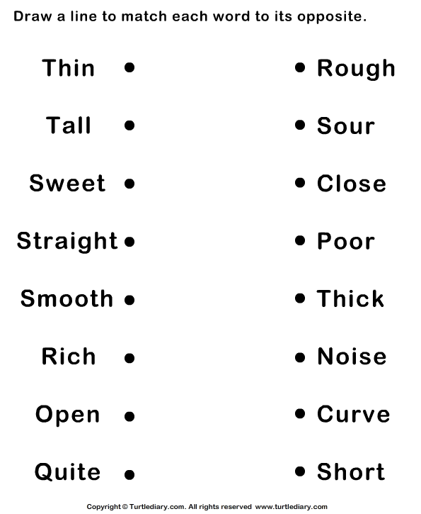 Match Each Word To Its Opposite Worksheet