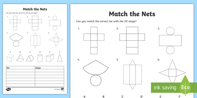 Match The 3d Net Worksheet   Activity Sheet
