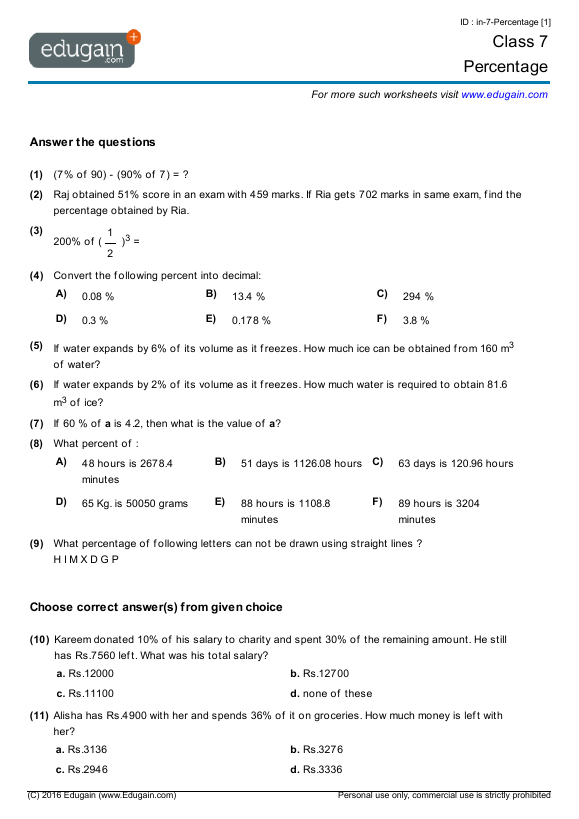 Math 7 Grade Worksheets Worksheets For All