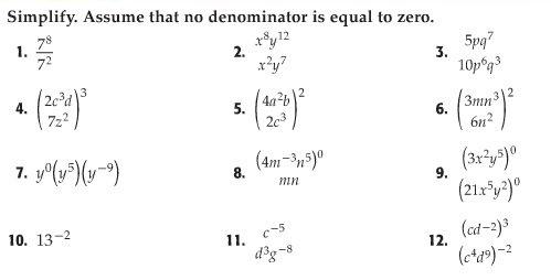 Math Algebra Exponents Worksheet Worksheets For All