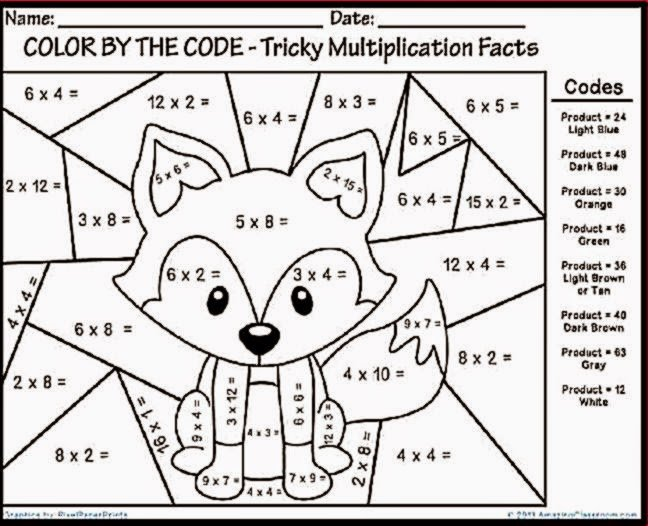 Math Coloring Sheets For 3rd Grade 12905