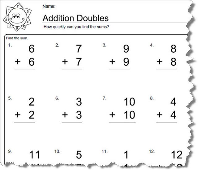Math Doubles Worksheet Photos