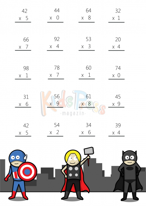 Math Worksheets – 2 Digit By 1 Digit Multiplication  2