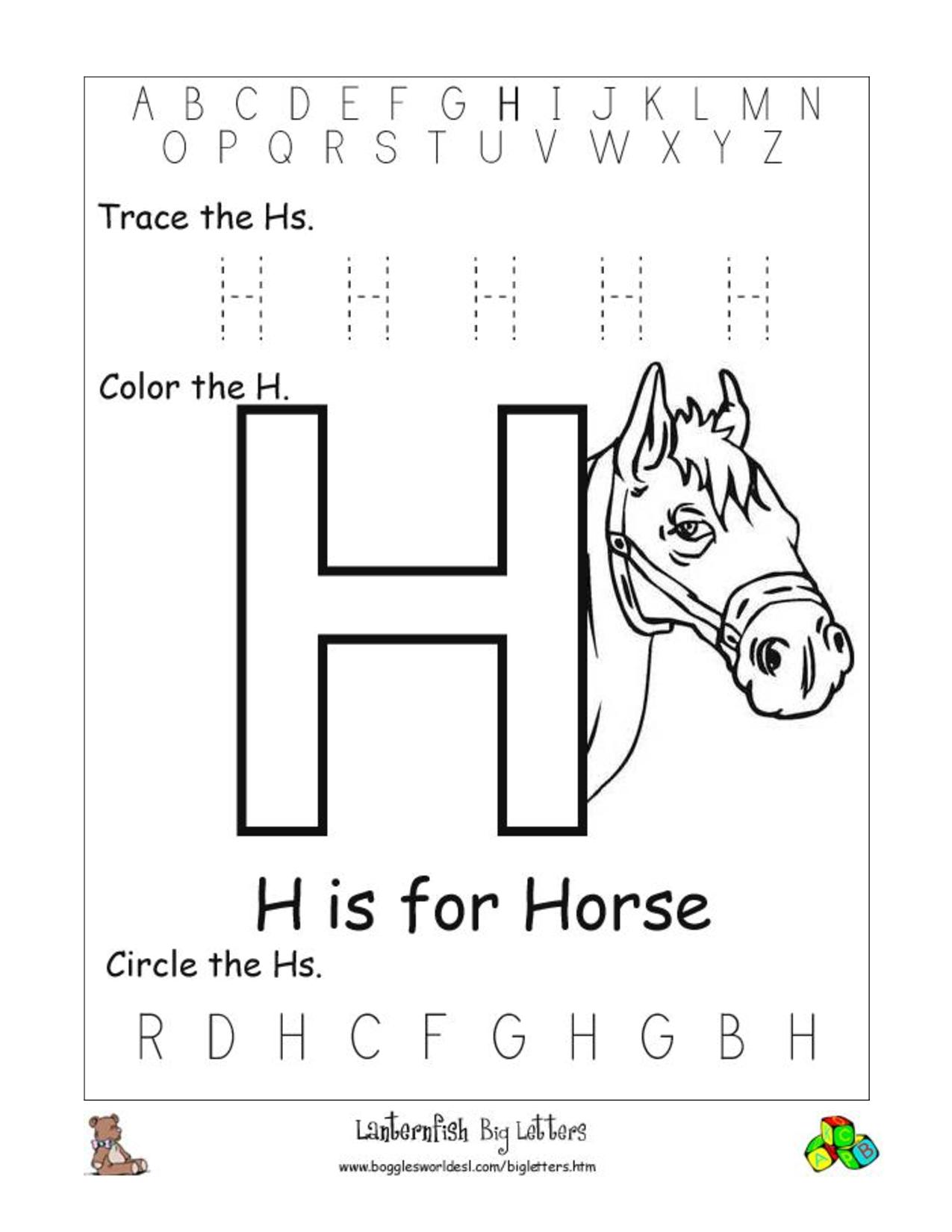 Maths Word Problem Worksheets Addition Letter H For Kindergarten