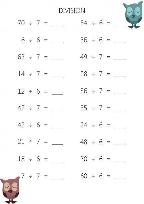 Mental Division Worksheet  5