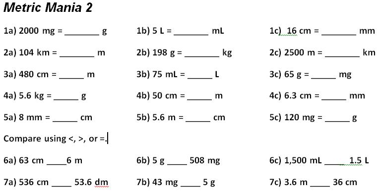 Metric System Conversions Worksheet