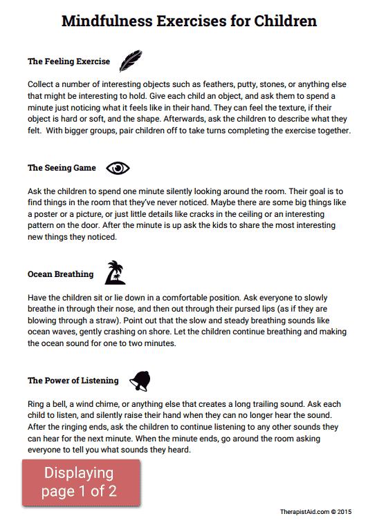 Mindfulness Activities For Children (worksheet)