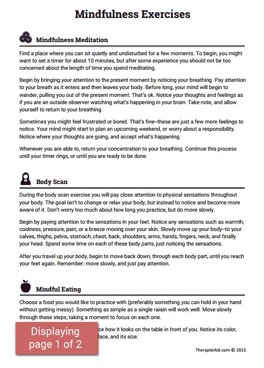 Mindfulness Exercises (worksheet)