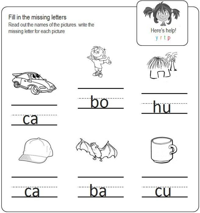 Missing Letters Worksheets For Kindergarten Worksheets For All