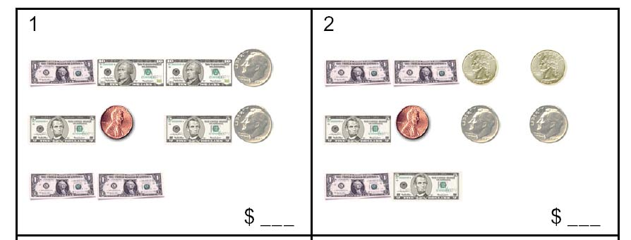 Money Coins & Bills Worksheet Sample