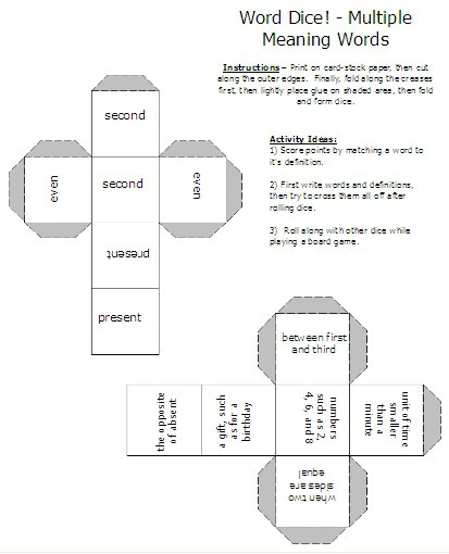 Multiple Meaning Words – Activities, Worksheets, Word Lists, And