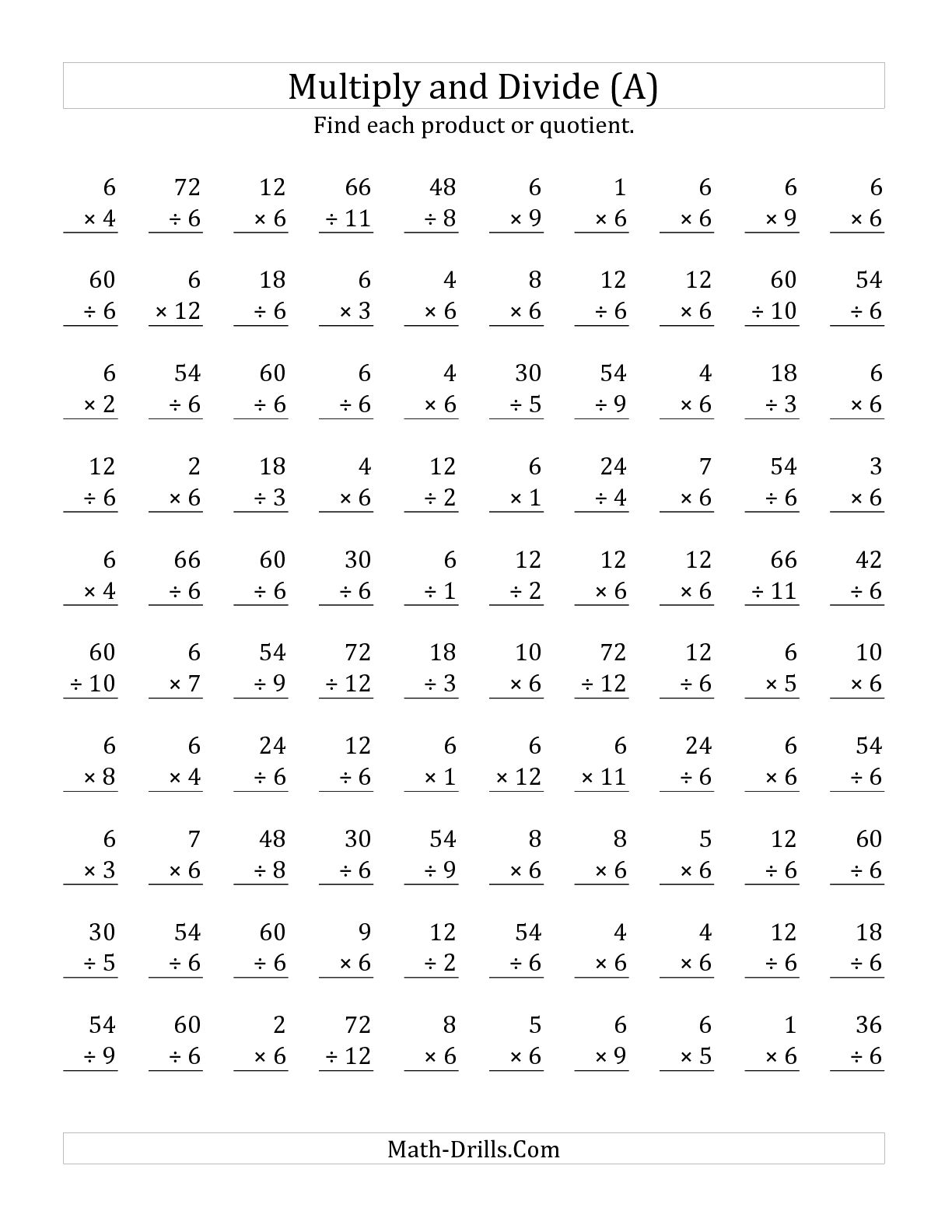 Multiplication And Long Division Worksheets