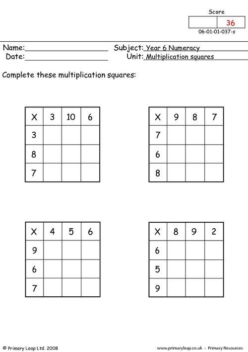 Multiplication Squares