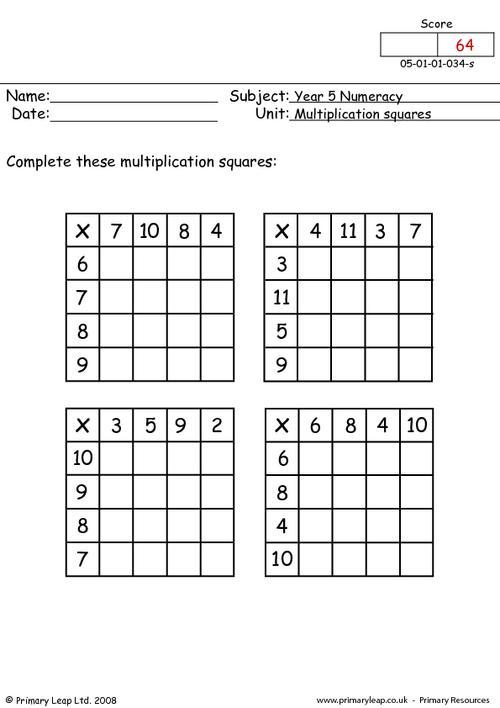 Multiplication Squares Worksheets Worksheets For All