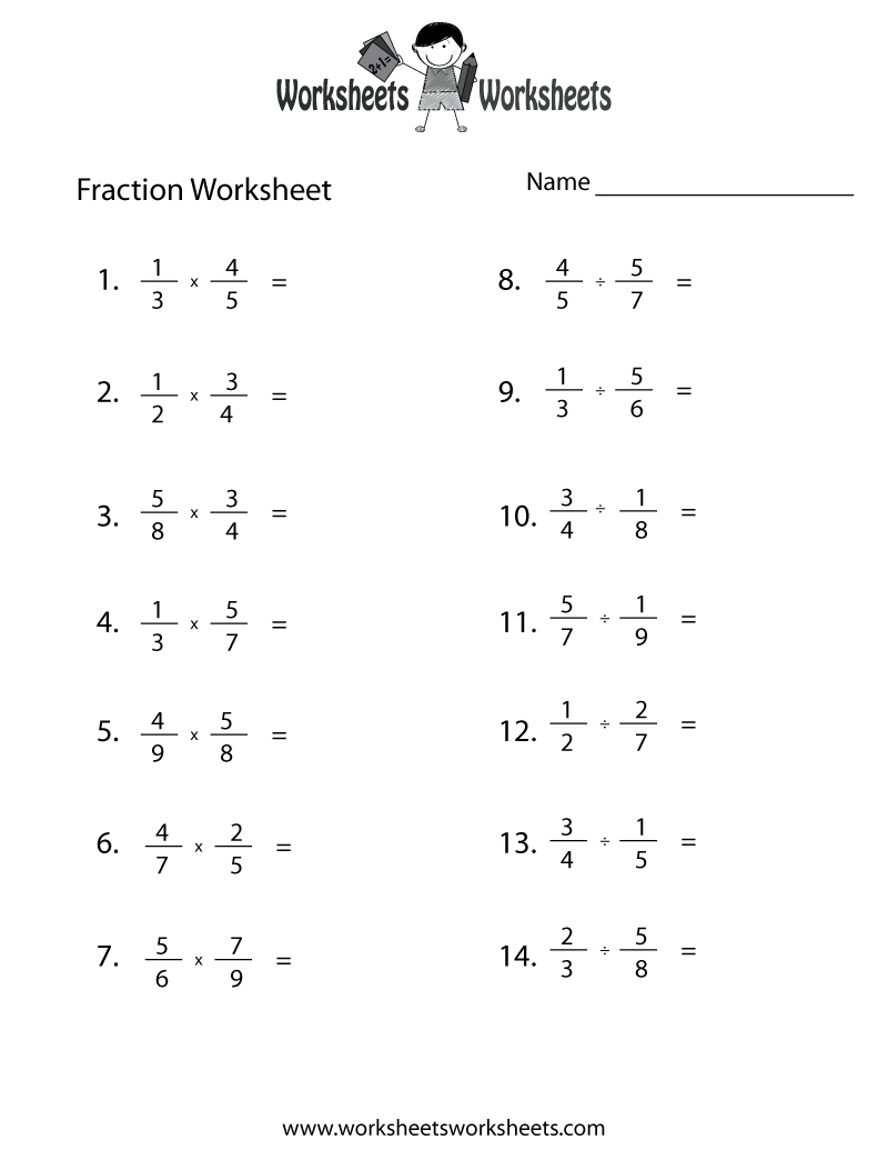 Multiplying Fractions Worksheets 6th Grade Free Worksheets Library