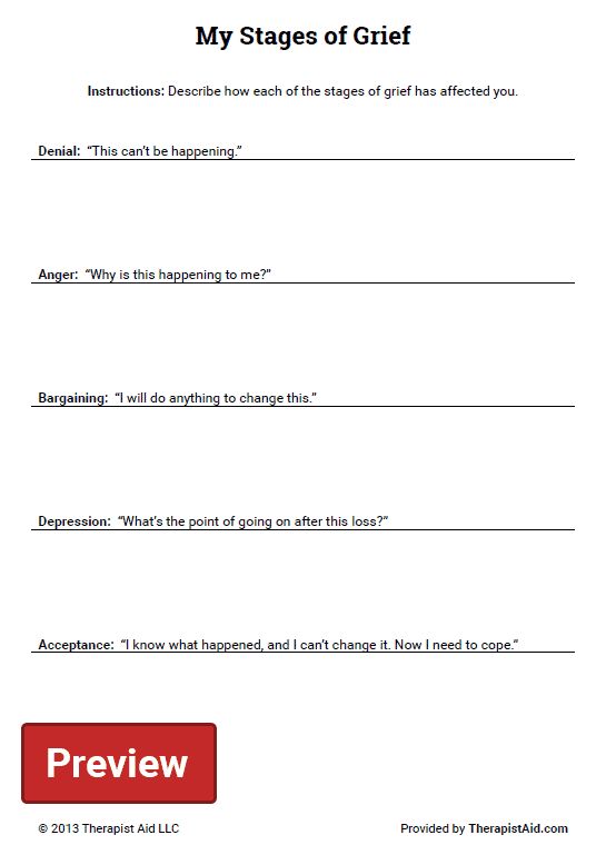 My Stages Of Grief (worksheet)