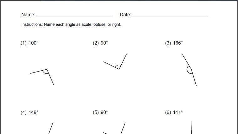 Naming Angles Worksheet