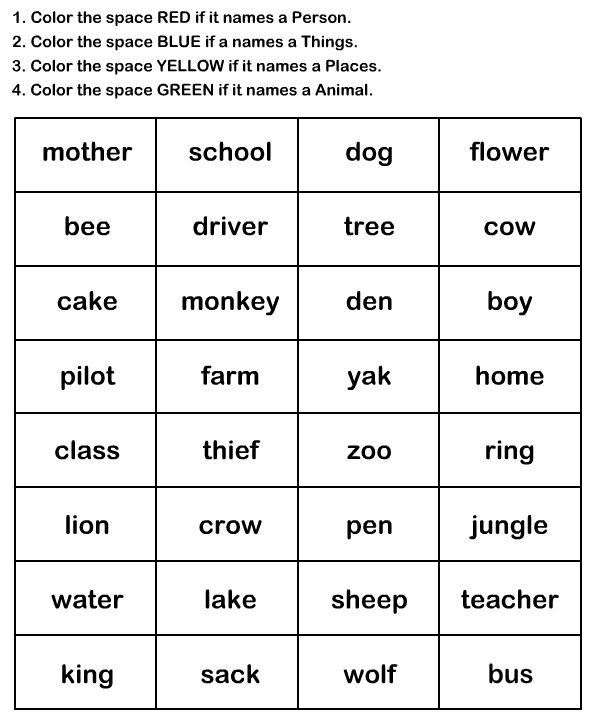 Naming Words Worksheet9