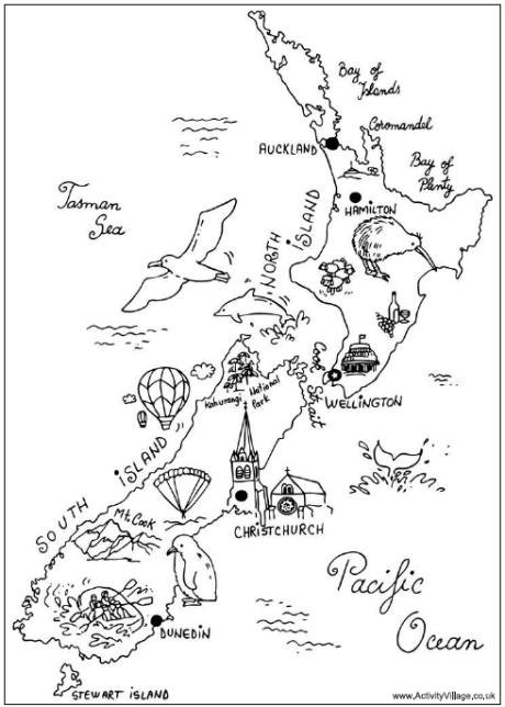 New Zealand Colouring Map Print This Fun Colouring Map Of New
