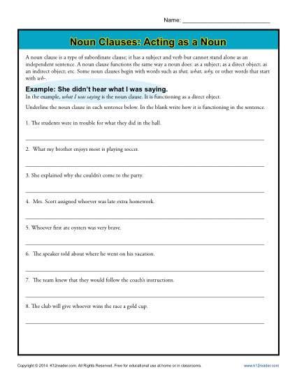 Noun Clauses  Acting As A Noun