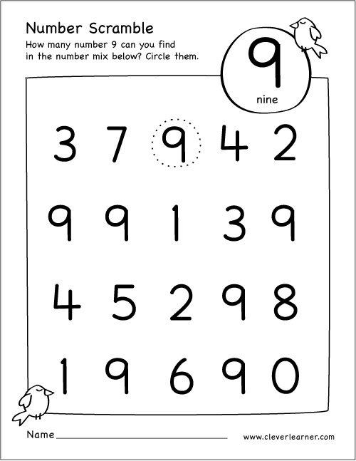 Number Scramble Activity Worksheet For Number 9 For Preschool Children