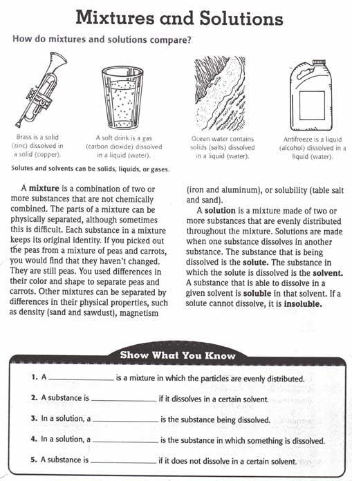 Of Mixtures Worksheet