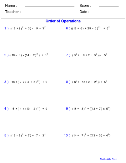 Of Operations Hard Worksheet