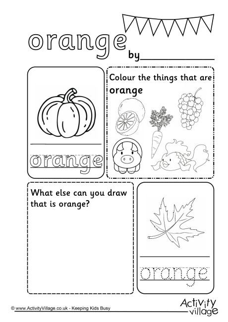 Orange Colour Worksheet