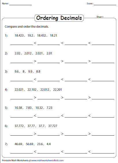 Ordering Decimals Worksheets