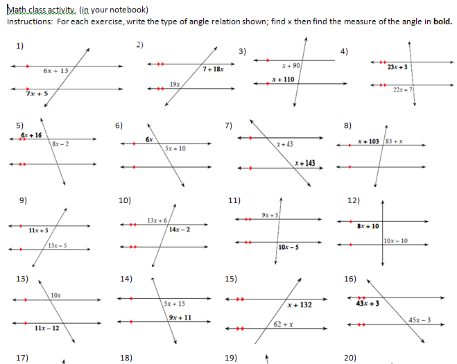 Parallel And Transversal Worksheet Worksheets For All