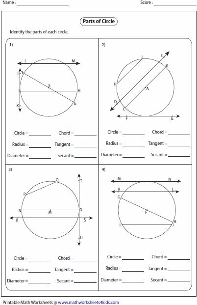 Parts Of A Circle Worksheet Free Worksheets Library