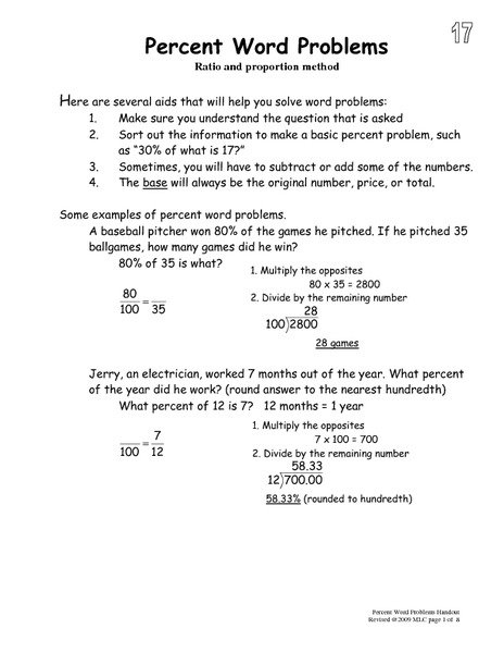 Percent Word Problems Worksheets