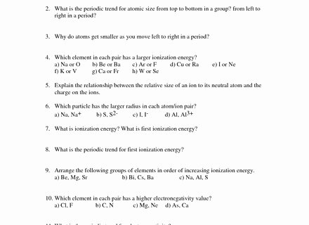 Periodic Trends Worksheet Lovely Periodic Table Trends Worksheet