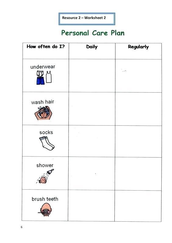 Personal Hygiene Worksheets – Streamclean Info