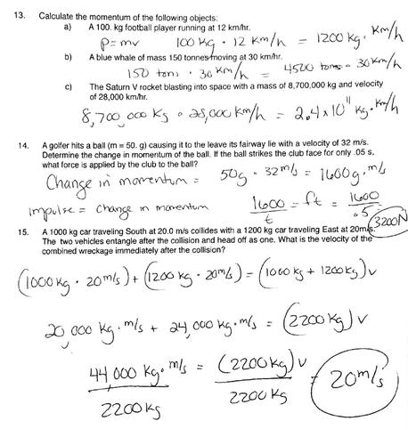 Physics Momentum Worksheet With Key