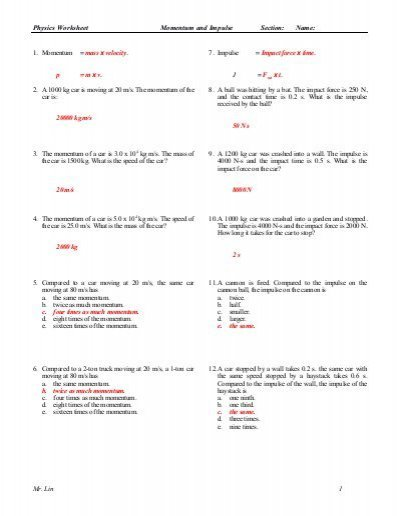 Physics Worksheet Momentum Impulse Work And Energy