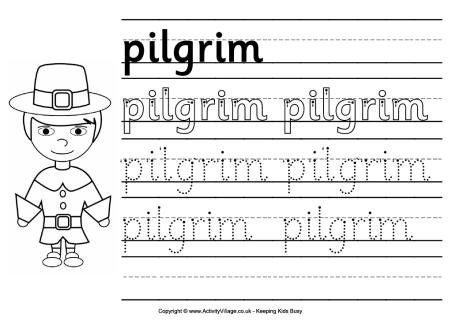 Pilgrim Handwriting Worksheet For Children