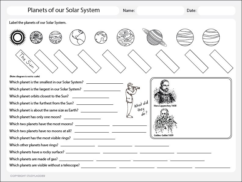 Planets Of The Solar System Worksheet, Theme Based Learning Skills