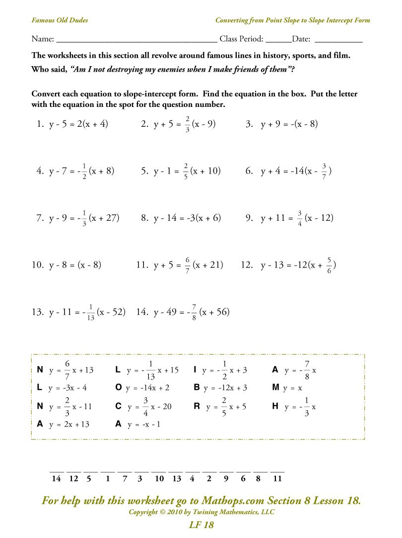 Point Slope Form Practice Worksheet The Best Worksheets Image