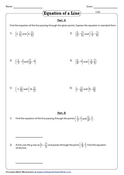 Point Slope Form Worksheet Equation Of A Line Passing Through Two