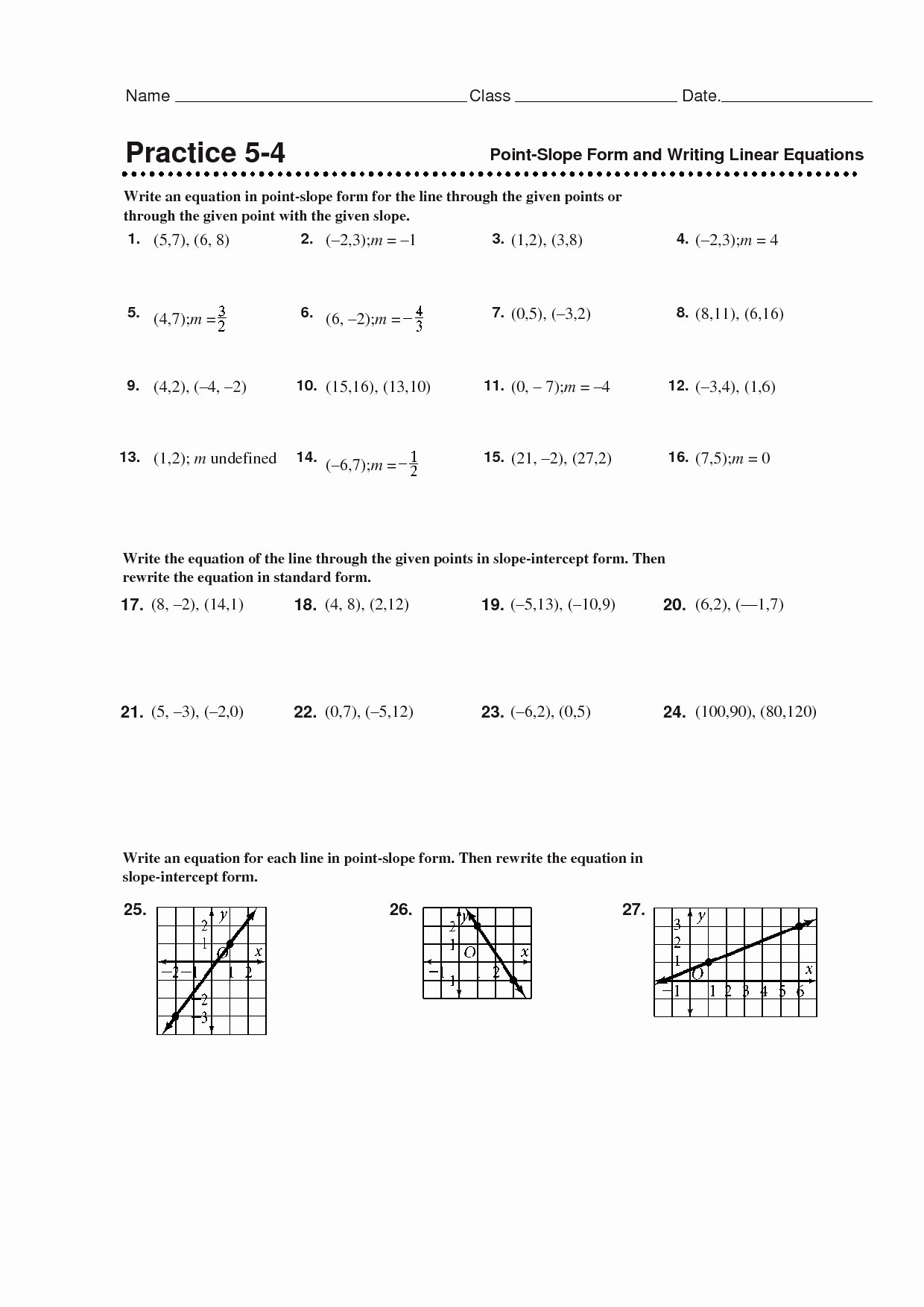 Point Slope Worksheet