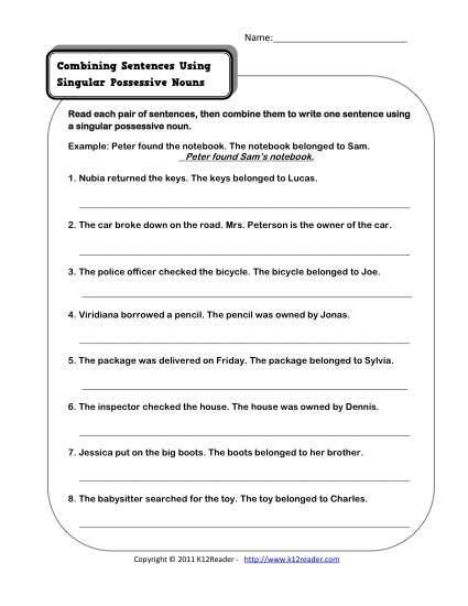 Possessive Noun Worksheets Middle School Worksheets For All