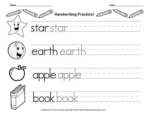 Practice Writing Sheets For Kindergarten