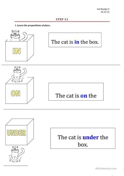 Prepositions  In, On, Under  Worksheet
