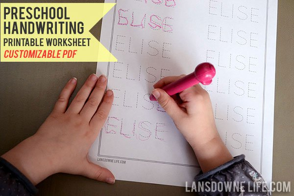 Preschool Handwriting Worksheet  Free Printable!