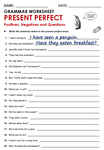 Present Perfect Worksheet Free Worksheets Library