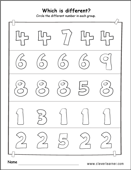 Printable Number Difference Worksheets For Preschools